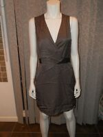 3.1 Phillip Lim Draped Front Pleat Striped Sleeveless Silk Cotton Dress 4 US