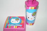 TUPPERWARE Hello Kitty Retro Pink Lunch Set Sandwich Keeper 16oz Tumbler spout