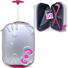 Hello Kitty Rolling Luggage ASB Trolley Bag Hard Suit Case :Silver Face Bow 18""