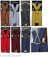 Mens 35mm Wide X Shape 4 Clips Adjustable Braces Suspenders Elastic Plain Colour