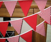 Red fabric gingham bunting 10 mt 58 flags wedding baby shower party