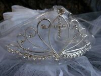 new bridal flower girl 1st Communion tiara crown white veil