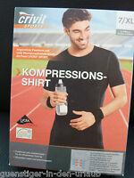 Herren Kompressions Shirt Laufshirt Sportshirt Kurzarm schwarz 7 XL NEU