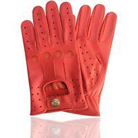 Handschuhe Top Qualität Echtes Weiches Leder Herren Fahren Modisch Rot 507