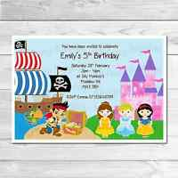 Personalised Princess and Pirate Birthday Party Invites Includes Envelopes