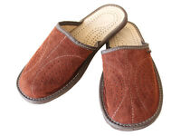 Mens Black Brown Leather Slippers  Size 7 8 9 10 11 12 13 Suede Mules Sandals