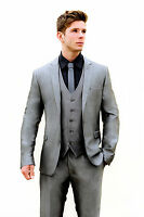 MJ-80 MENS 2PC SILVER GREY SLIM FIT SUIT IDEAL FOR WEDDINGS/PROMS/OCCATIONS