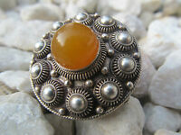 1930s Siam Sterling Silver 925 Butterscotch Amber Handcrafted Pin Brooch Vintage