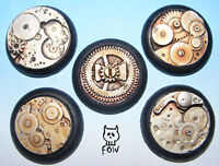 30mm ROUND, STEAM PUNK BASES FOR WARGAMES X5 - Resin