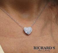 14K WHITE GOLD PAVE HEART DIAMOND NECKLACE!!