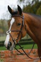 MARK TODD PLAIN RAISED GRACKLE BRIDLE - ENGLISH LEATHER - FULL - BLACK / BROWN