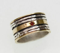 925 sterling silver gold red Garnet gemstone spinner ring band size 6 7 8 9 R091