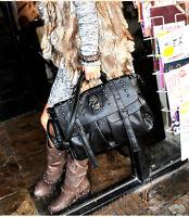 Fashion Women's Pu Leather Bag Punk Skull Rivet Shoulder Handbag School Satchel