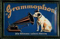 His Masters Voice blau Blechschild Schild Blech Metall Metal Tin Sign 20 x 30 cm