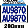 Boat Rego 200mm Block Registration Sticker Decal Set of 2