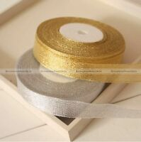 25yds 20mm Wire Edge Glitter Gold Silvery Ribbon Christmas Gift Wrapping S1