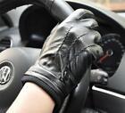 Men's Black 3-lines Wool Wrist Winter Gloves Genuine Lambskin Leather M L New