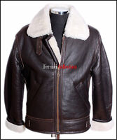 Men's Shearling B3 Brown Real Sheepskin World War 2 Bomber Leather Flying Jacket