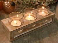 Shabby Chic Landhaus 3er Windlicht Vintage braun beige Teelichtleuchter Kerze