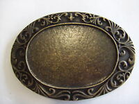 Oval Scroll Design Antique Brass Belt Buckle Made in Canada By Century