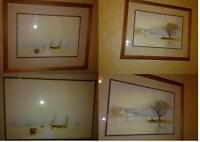Seascape Coastal Original Watercolour Paintings by R Witchard Sail Rowing Boats