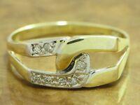 14kt 585 GOLD GELBGOLD RING MIT 0,07ct. DIAMANT BESATZ DIAMANTRING GOLDRING