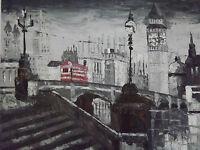london street red bus oil painting canvas cityscape modern black white original