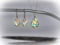 Swarovski Elements Schmuckset Crystal AB Silber 925 Baroque, NEU!