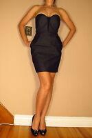 Rag&Bone Stretch Dark Denim Black Leather Corset Dress Sexy Strapless 6 Small