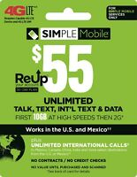 Simple Mobile Plan - Unlimited Talk, Text, 10GB Data with 30 Days of Service