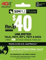 Simple Mobile Plan - Unlimited Talk, Text, 4GB Data with 30 Days of Service