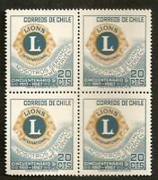 CHILE 1967 STAMP # 710 MNH BLOCK OF FOUR LIONS CLUB