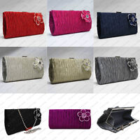 Pleated Satin Crystal Floral Pattern Wedding Party Evening Clutch Bag