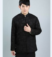 Black Chinese Men's Dragon winter cotton Jacket/Coat  Size: M L XL XXL XXXL
