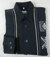 Extravagantes HOM Langarm Vintage- Hemd Baumwolle schwarz KW 39/40 Gr L = 52