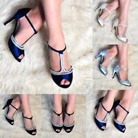 Womens Satin Dress Sandals T Bar Ankle Strap Evening Shoes High Heel Peep Toe