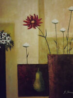 abstract red white flowers floral large oil painting canvas contemporary art