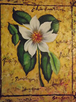 """abstract modern white flower large oil painting canvas contemporary art 20 x 24"""""""