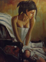 sexy white dress semi nude female woman oil painting canvas contemporary modern