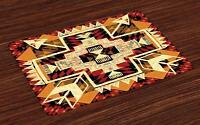 Retro Placemats Set of 4 Native American Boho Chic Print Fabric Table Mats