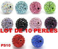 Lot de 10 perles cristal bling strass (10 couleurs) - PS10