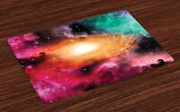 Science Placemats Set of 4 Galaxy Stardust Cosmos Print Fabric Table Mats