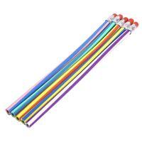 5 pzs Lapices pluma flexible plegable torcido de  raya colorida para ninos F5L7