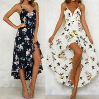 Womens Sexy Sleeveless Plunge Ladies Maxi Long Dress Summer Floral Beach Dress