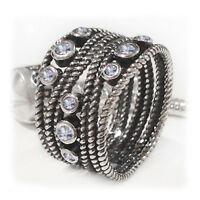 Size 8 925 Sterling Silver Oxidized Clear Cubic Zirconia Rope Twist Dress Ring