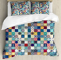 Moroccan Duvet Cover Set with Pillow Shams Ornate Patchwork Motif Print