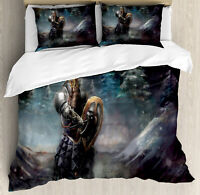 Fantasy Duvet Cover Set with Pillow Shams Medieval Dwarf Knight Print