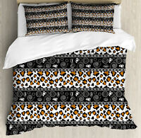 Zambia Duvet Cover Set with Pillow Shams African Cheetah Pattern Print