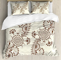 Henna Duvet Cover Set with Pillow Shams South Asia Mehndi Pattern Print