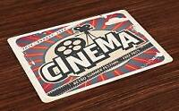Retro Placemats Set of 4 Vintage Cinema Movie Star Print Fabric Table Mats